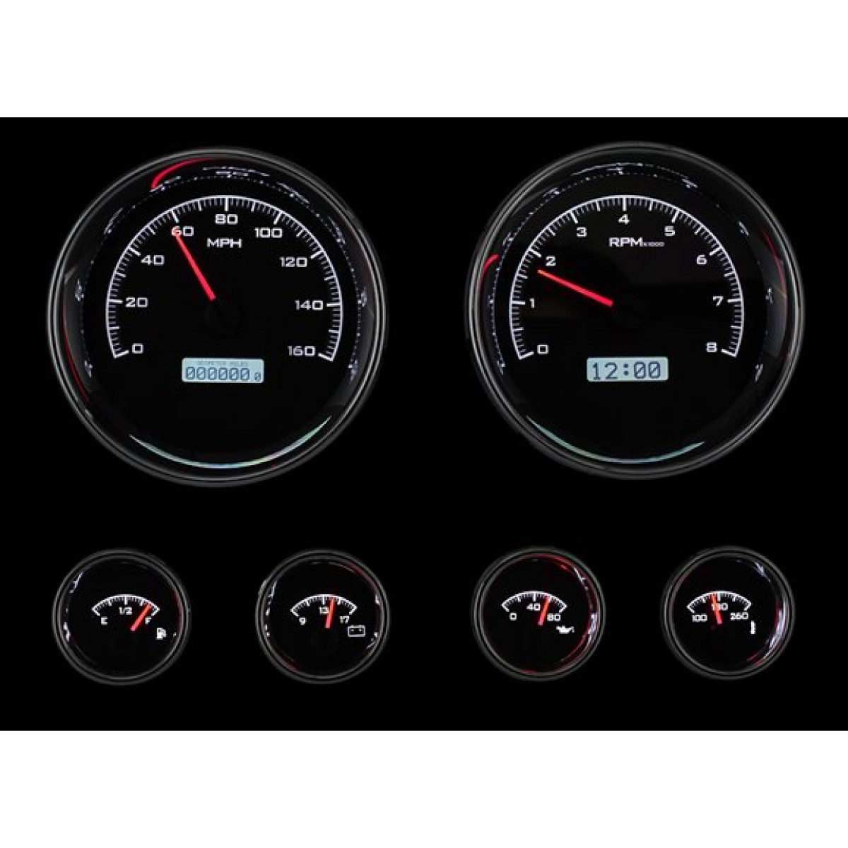 Electronic Gauge Cluster : Dakota digital vhx universal six gauge round