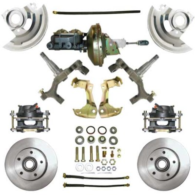 "1967-1969 Chevy Camaro - 2"" Drop Complete Power Disc Brake Kit - MBM DBK6472D-PB-MC-PVK"