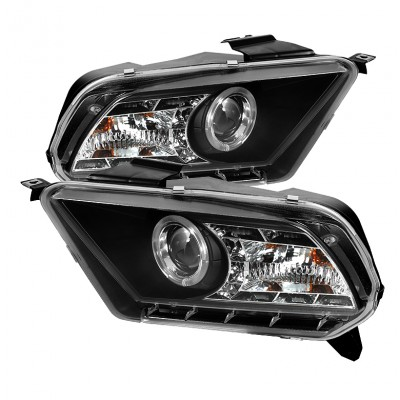 2010-2013 Ford Mustang Projector Headlights - LED Halo - Black