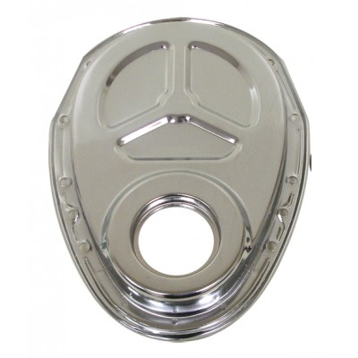 Steel 1955-95 Chevy Sb 283-305-327-350-400 Timing Chain Cover (ROLLER Cam) - Chrome