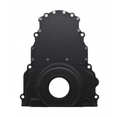 Chevy LS Two Piece Timing Chain Cover no Cam Sensor Hole - Black
