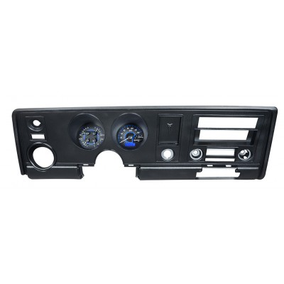 1969 Pontiac Firebird Dakota Digital Gauges VHX System, Carbon Fiber Style Face, Blue Display