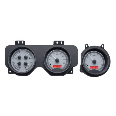 1970-72 Pontiac GTO Dakota Digital Gauges VHX System, Silver Alloy Style Face, Red Display