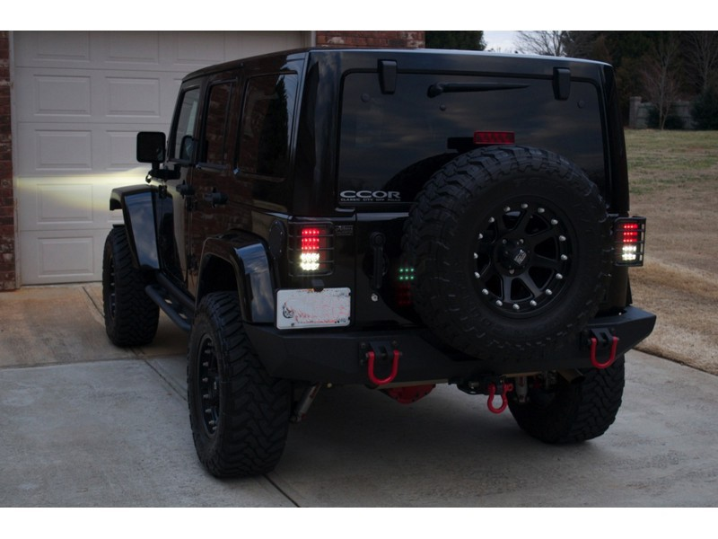2007 14 Jeep Wrangler LED Tail Lights   Black
