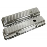 1958-86 Chevy Small Block Polished Aluminum Valve Covers - Ball Milled
