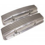 1958-86 Chevy Small Block Polished Aluminum Valve Covers - Full Finned - No Holes