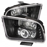 2005-2009 Ford Mustang Projector Headlights - CCFL Halo - Black