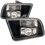 2005-2009 Ford Mustang Projector Headlights - LED Halo - Black