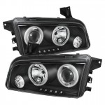 2006-2010 Dodge Charger Projector Headlights - CCFL Halo - Black