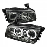 2006-2010 Dodge Charger Projector Headlights - CCFL Halo - Smoke