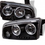 2006-2010 Dodge Charger Projector Headlights - LED Halo - Black