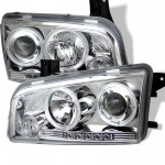 2006-2010 Dodge Charger Projector Headlights - LED Halo - Chrome
