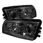 2006-2010 Dodge Charger Projector Headlights - LED Halo - Smoke