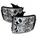2007-2013 Chevy Silverado Projector Headlights CCFL Halo - Chrome