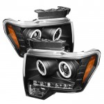 2009-14 Ford F150 Projector Headlights - Black
