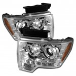 2009-14 Ford F150 Projector Headlights - Chrome