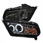 2010-2013 Ford Mustang Projector Headlights - CCFL Halo - Smoke