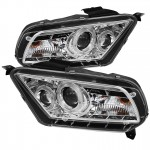 2010-2013 Ford Mustang Projector Headlights - LED Halo - Chrome