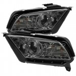 2010-2013 Ford Mustang Projector Headlights - LED Halo - Smoke