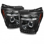 2011-15 Ford Super Duty Projector Headlights - Black