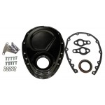 Steel 1955-95 Chevy Sb 283-305-327-350-400 Timing Chain Cover Kit - Black