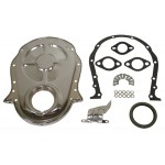 Steel 1966-90 Chevy Bb 396-402-427-454 Timing Chain Cover Kit - Chrome