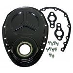 Aluminum Chevy Sb Timing Chain Cover Set (ROLLER Cam) - Black