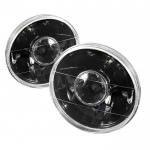 7inch Universal Round Projector Lamp W/ Super White H4 Bulbs - Black