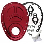 Aluminum Chevy Sb Timing Chain Cover Set (ROLLER Cam) - Red