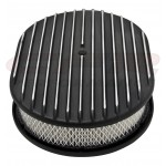 "Aluminum 12"" Oval Air Cleaner Paper Filter Polished Finned - Black"