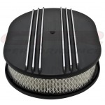 "Aluminum 12"" Oval Air Cleaner Paper Filter Polished Partial Finned - Black"