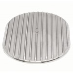 "Aluminum 12"" Oval Air Cleaner Top Finned - Polished"
