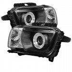 2010-13 Camaro Projector Headlights Dual Halo -  LED Halo - Black