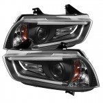 2011-14 Dodge Charger Projector Headlights - Light Tube DRL - Black