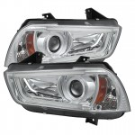 2011-14 Dodge Charger Projector Headlights - Light Tube DRL - Chrome