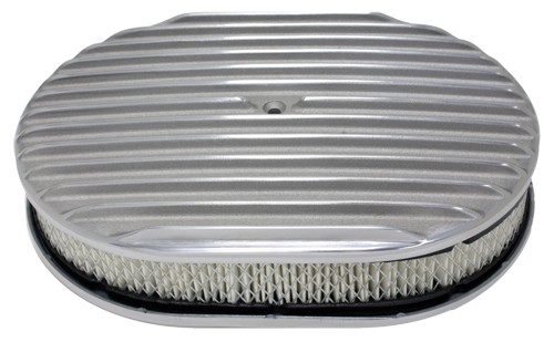 """Aluminum 12"""" Oval Air Cleaner  Paper Filter Finned - Polished"""
