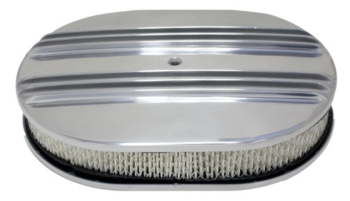 """Aluminum 12"""" Oval Air Cleaner Paper Filter Partial Finned - Polished"""