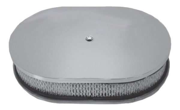 """Aluminum 12"""" Oval Air Cleaner  Paper Filter Smooth - Polished"""