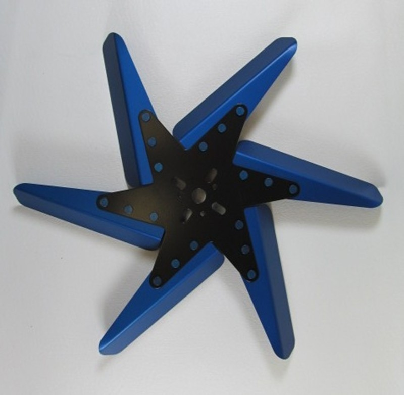"Aluminum Flex Fan, 17"" Blue Blades, Black Center"