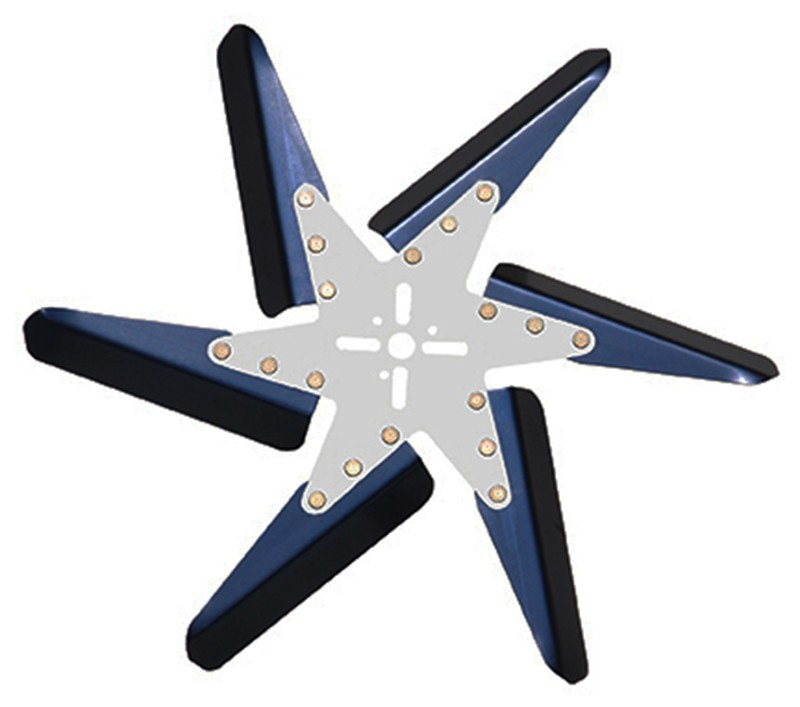 "Aluminum Radiator Flex Fan, 18"" Blue Blades, Chrome Center"