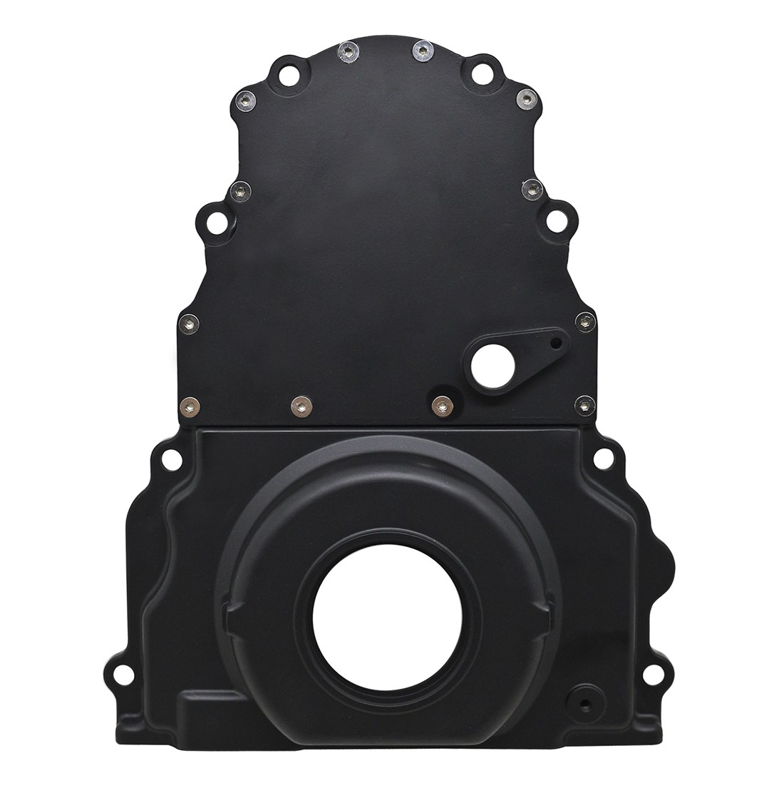 Chevy LS Two Piece Timing Chain Cover w Cam Sensor Hole - Black