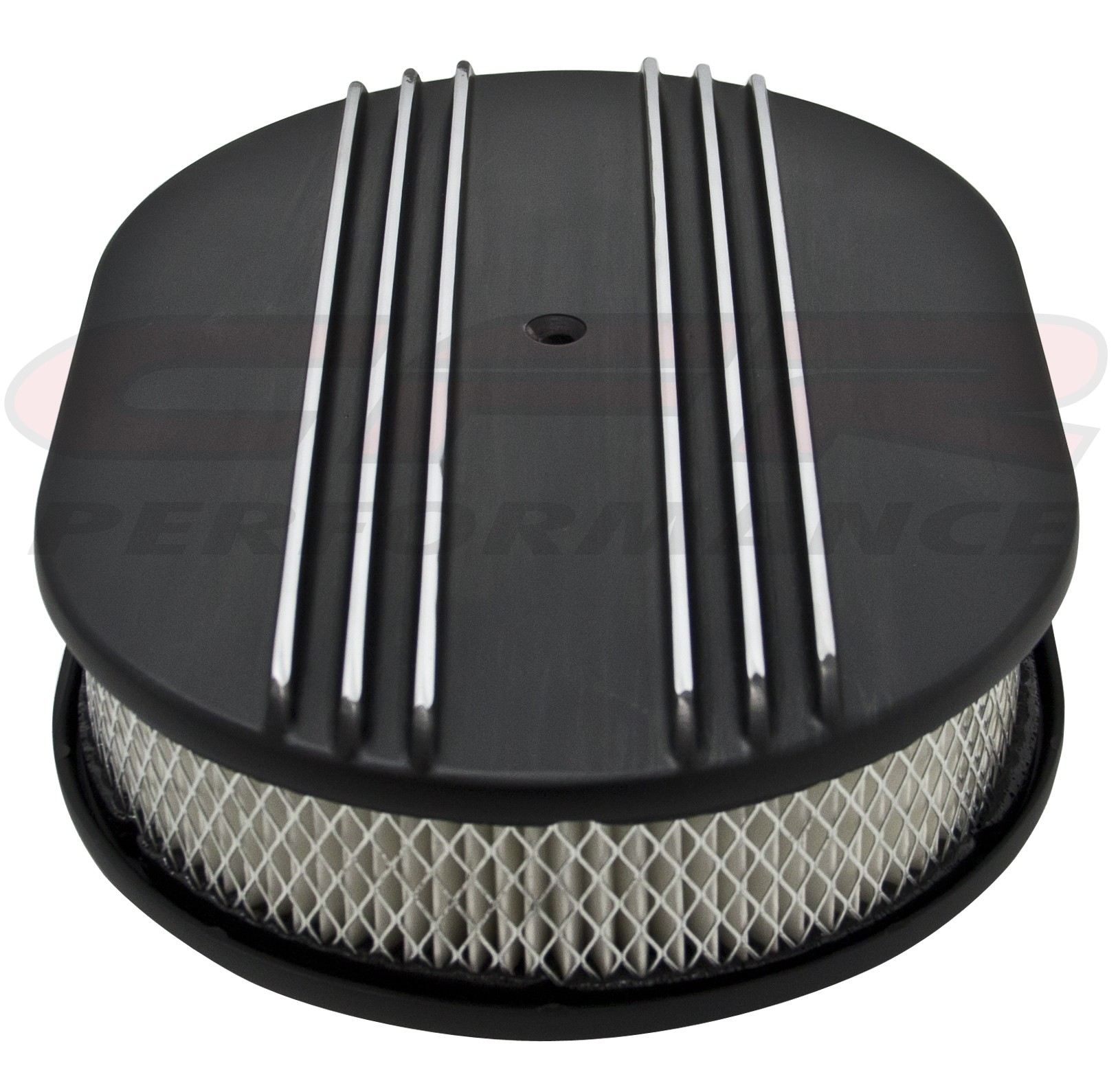 """Aluminum 12"""" Oval Air Cleaner Paper Filter Polished Partial Finned - Black"""