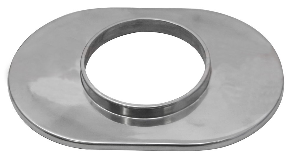 """Aluminum 12"""" Oval Air Cleaner Base Smooth - Polished"""