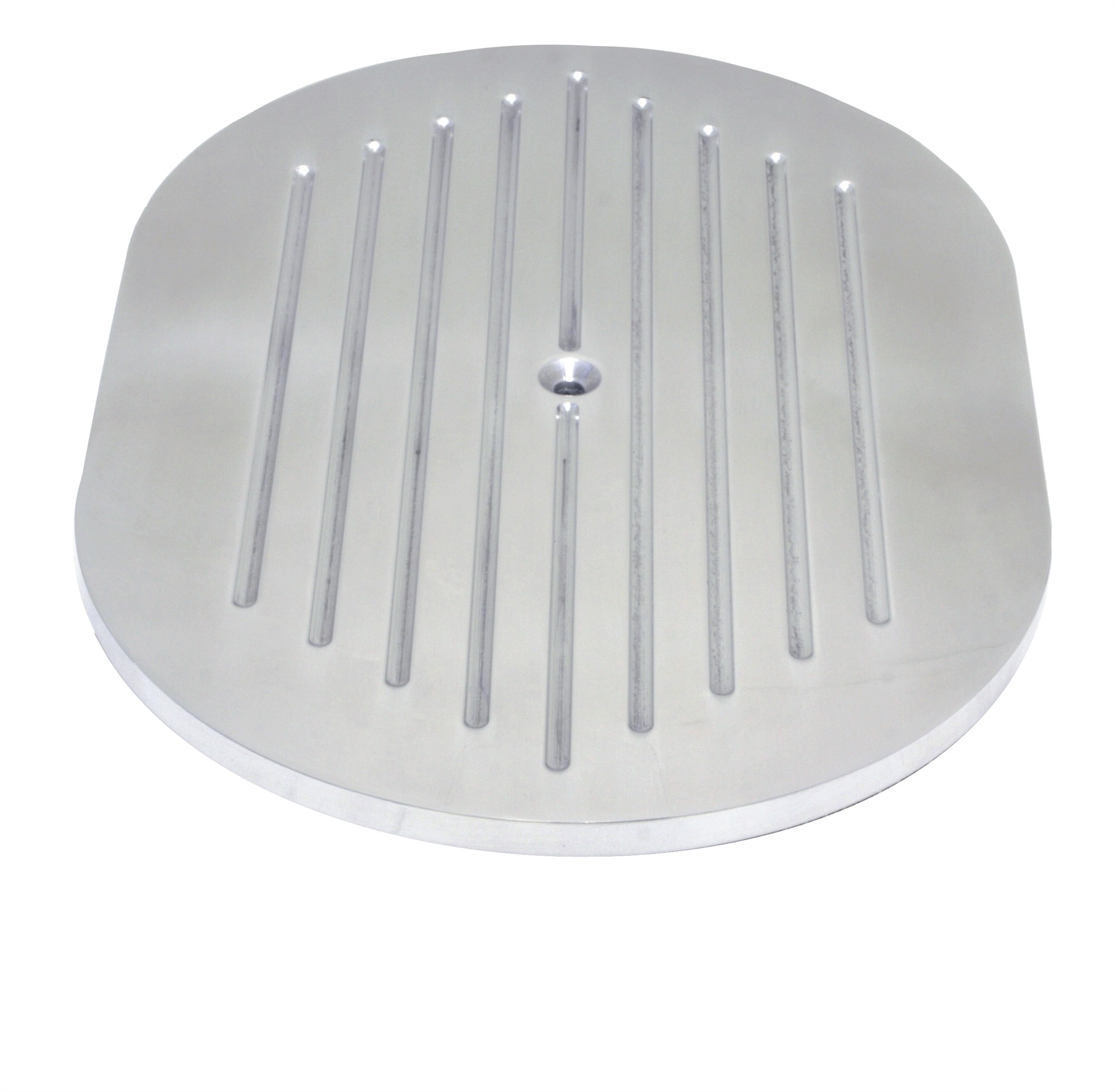 """Aluminum 12"""" Oval Air Cleaner Paper Filter Ball Milled - Chrome"""