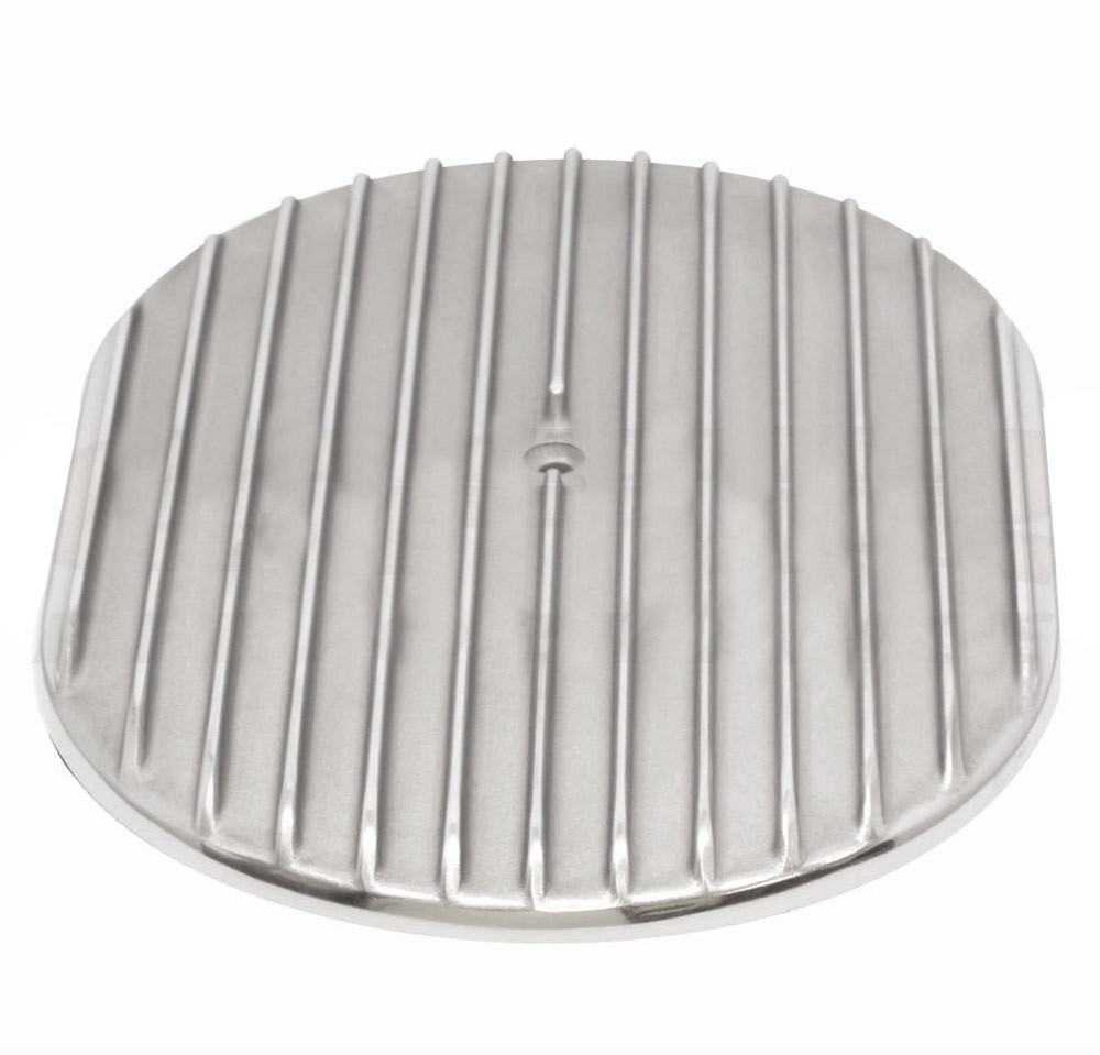 """Aluminum 12"""" Oval Air Cleaner Top Finned - Polished"""