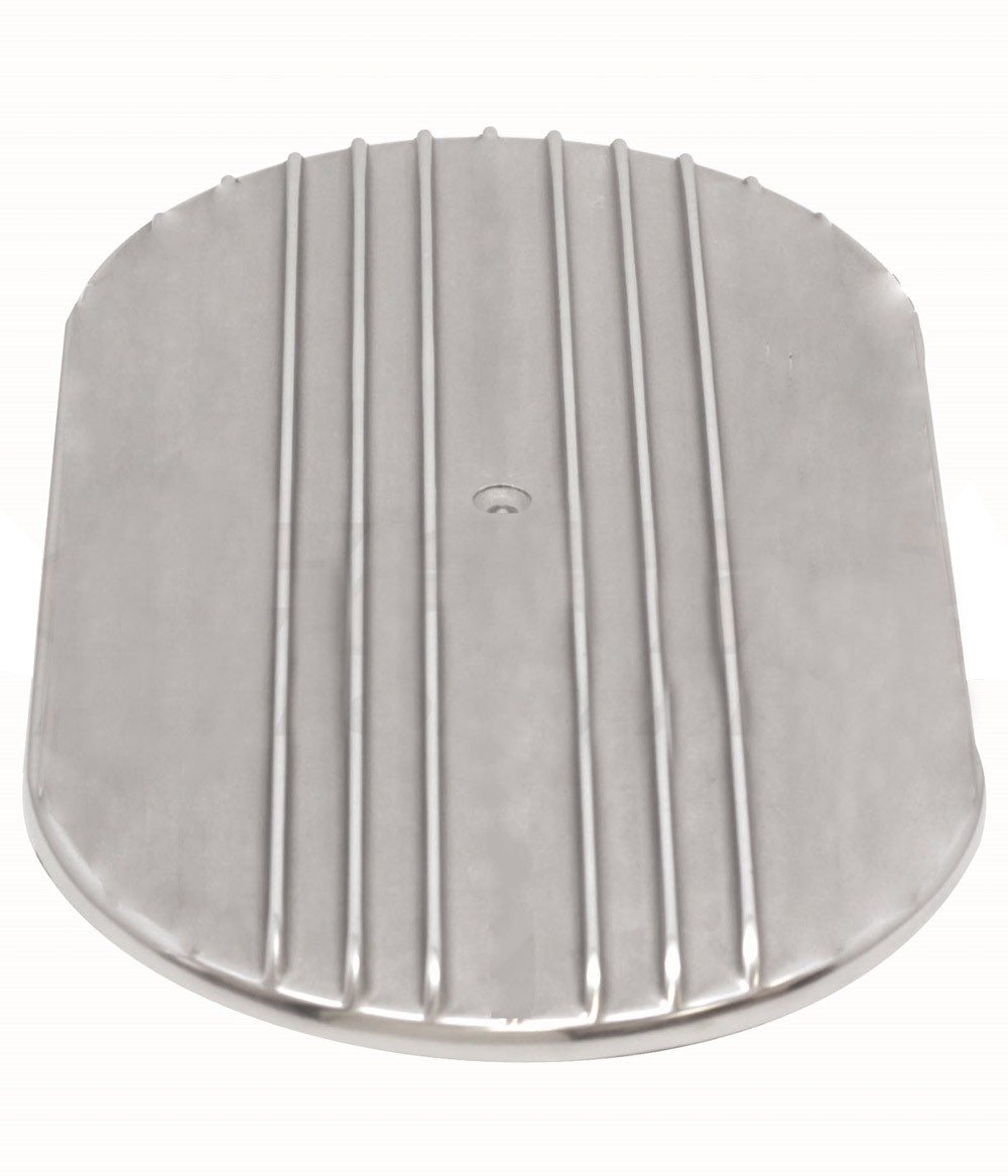 """Aluminum 12"""" Oval Air Cleaner Top Partial Finned  - Polished"""